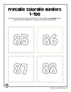 Printable Numbers 85-88