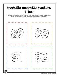 Printable Numbers 89-92