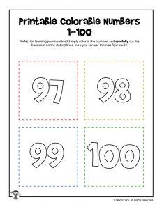 Printable Numbers 97-100