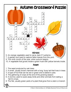 Autumn Crossword Puzzle Worksheet - ANSWER KEY