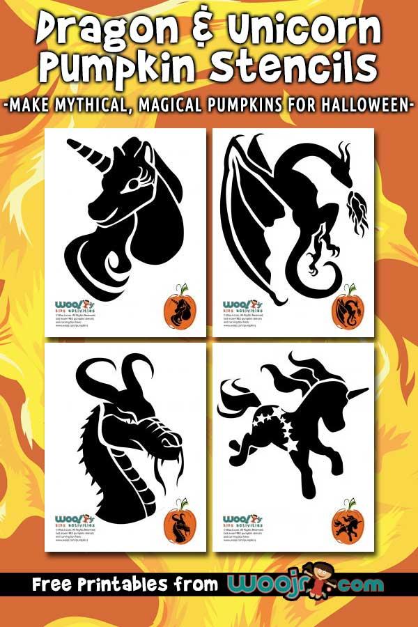 Dragon and Unicorn Pumpkin Stencils