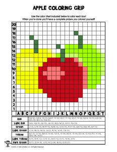Apples STEAM Coloring Worksheet - ANSWER KEY