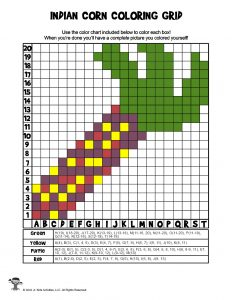 Decorative Indian Corn Grid Coloring - ANSWER KEY