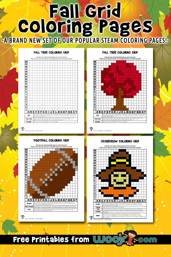 Fall Grid Coloring Pages
