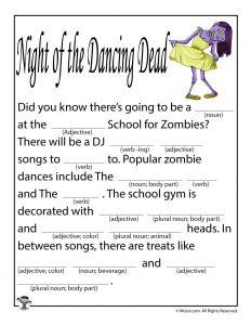 Night of the Dancing Dead Blank Ad Lib