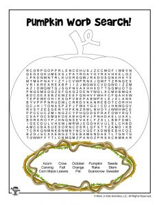 Pumpkin Picking Word Search Printable