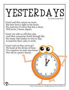 Yesterdays Poem for Kids
