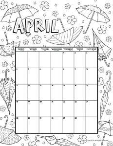 April 2021 Printable Calendar Page