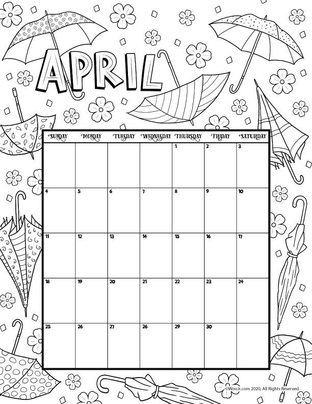 April 2021 Printable Calendar Page | Woo! Jr. Kids Activities