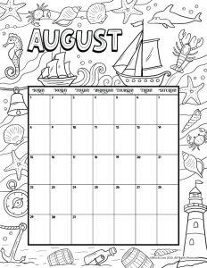 August 2021 Printable Calendar Page