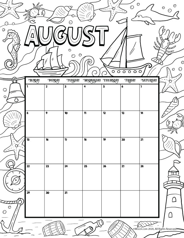 August 2021 Printable Calendar Page   Woo! Jr. Kids Activities