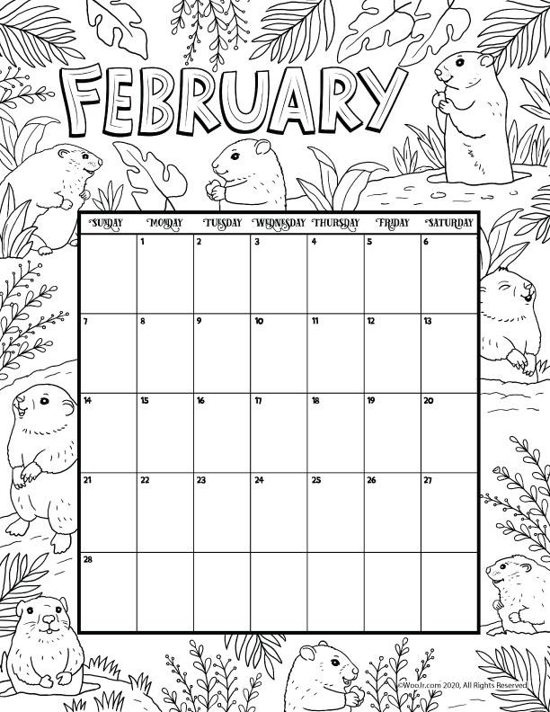February 2021 Printable Calendar Page | Woo! Jr. Kids ...