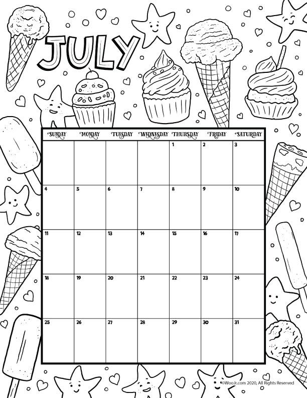 July 2021 Printable Calendar Page   Woo! Jr. Kids Activities