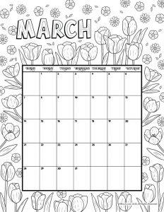 March 2021 Printable Calendar Page