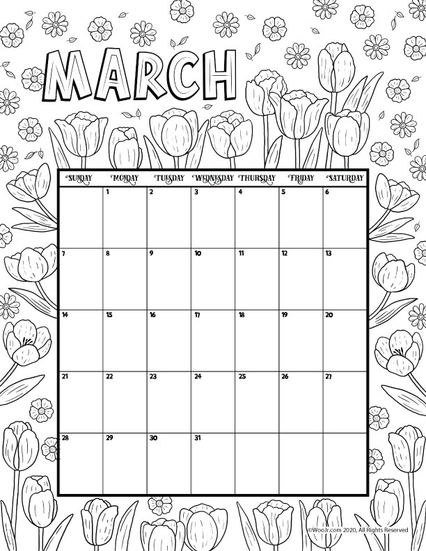 March 2021 Printable Calendar Page | Woo! Jr. Kids Activities
