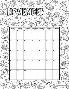 Printable Coloring Calendar For 2021 And 2020 Woo Jr Kids Activities