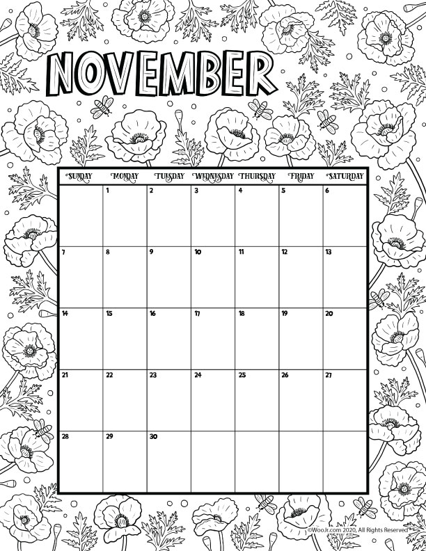 November 2021 Printable Calendar Page | Woo! Jr. Kids ...