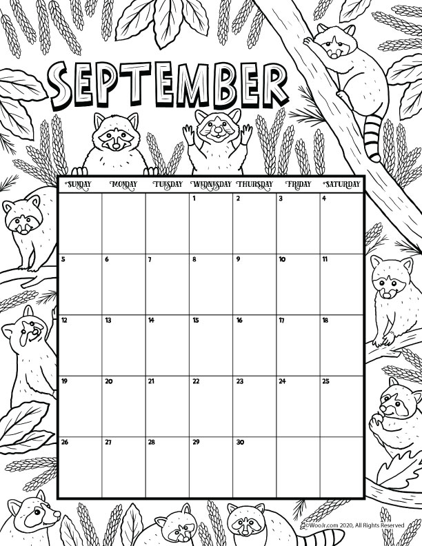 September 2021 Printable Calendar Page | Woo! Jr. Kids ...