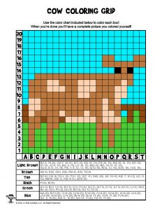 Cow STEAM Grid Coloring Page - ANSWER KEY