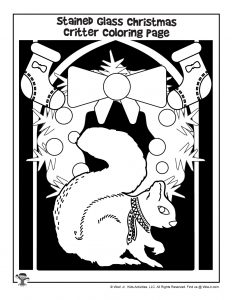 Santa's Squirrel Stained Glass Coloring Page
