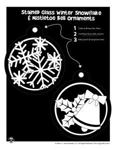 Snowflake and Bells Stained Glass Ornaments Printable