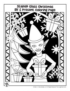 Stained Glass Elf Coloring Page