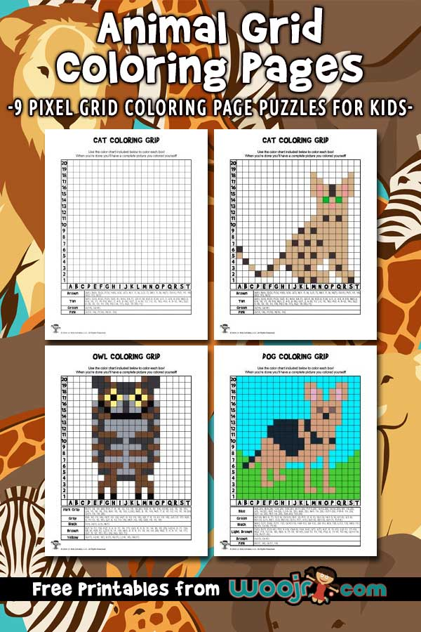 Animal Grid Coloring Pages Woo! Jr. Kids Activities