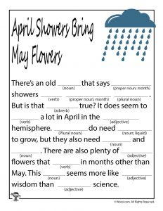 April Showers Bring May Flowers Mad Libs
