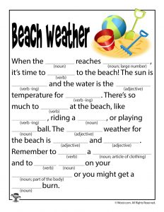 Beach Weather Mad Libs for Children