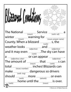 Blizzard Conditions Printable Mad Libs