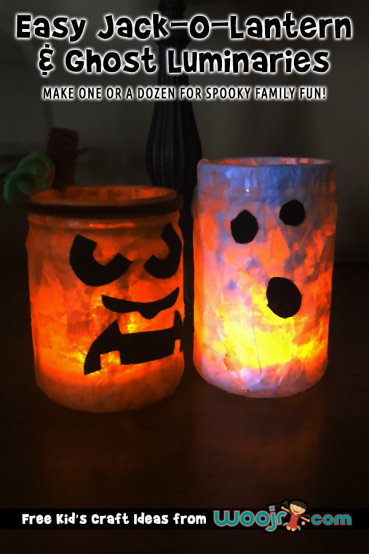 Easy Jack-O-Lantern and Ghost Luminaries