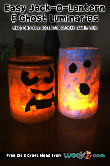 Easy Jack-O-Lantern and Ghost Luminaries