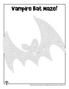 Vampire Bat Maze Activity Page