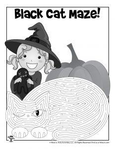 Printable Black Cat Maze