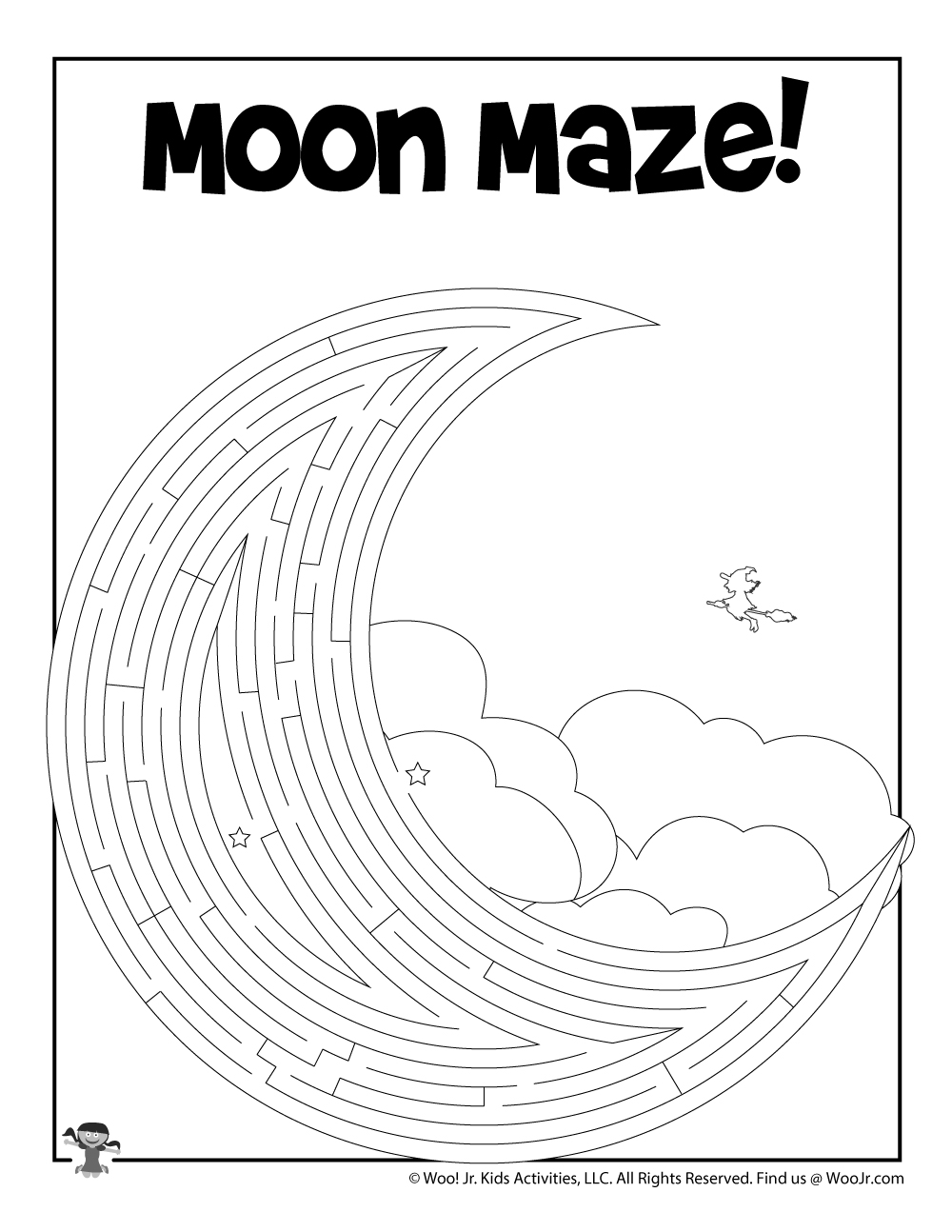 moon printable maze worksheet