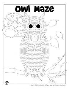Printable Owl Maze