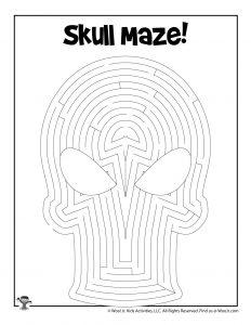 Skull Printable Maze for Kids