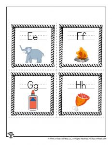 Alphabet Flash Cards E to H