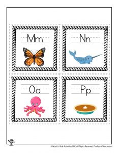 M to P Alphabet Flash Cards