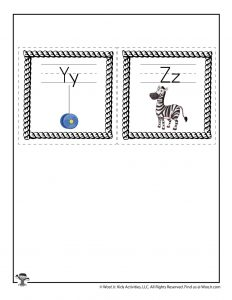 Letters Y and Z Flash Cards
