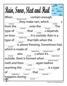Rain, Snow, Sleet & Hail Mad Lib