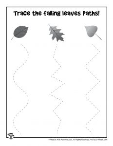 Falling Leaves Line Tracing Printable