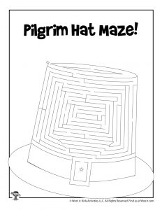 Pilgrim Hat Maze for Kids
