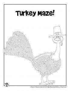 Turkey Maze Activity Sheet