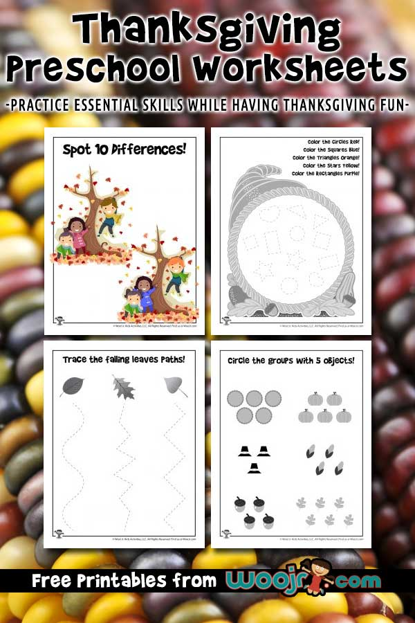 Thanksgiving Preschool Worksheets Woo! Jr. Kids Activities