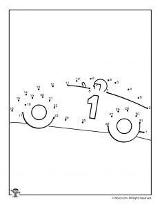 Race Car Dot to Dot Coloring Page