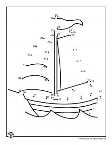 Sail Boat Dot to Dot Printable Game