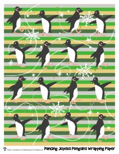 Dancing Penguins Printable Gift Wrap