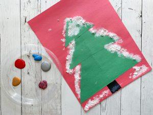Snowy construction paper tree craft