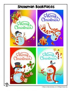 Colorful Merry Christmas Bookplates